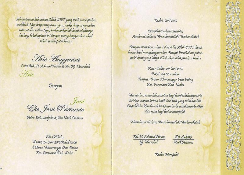 Undangan Pernikahan Arie&Joni
