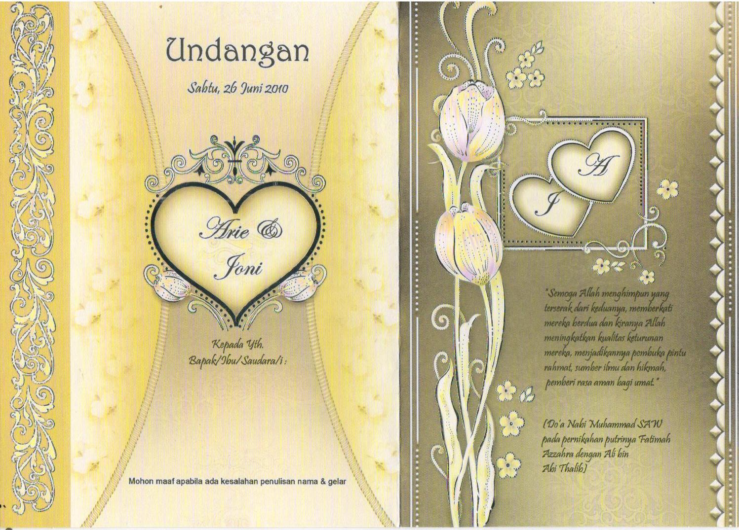 undangan pernikahan arie joni